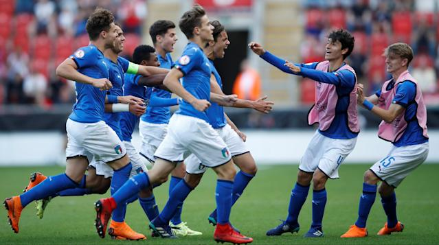 Soccer Football - UEFA European Under-17 Championship Final - Italy vs Netherlands - AESSEAL New York Stadium, Rotherham, Britain - May 20, 2018 Samuele Ricci celebrates scoring Italy's first goal Action Images via Reuters/Carl Recine