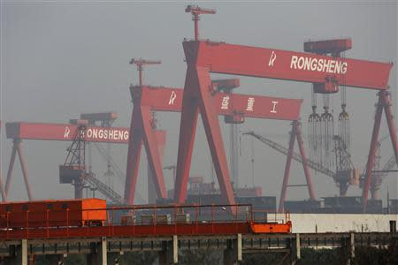 A view shows the Rongsheng Heavy Industries shipyard in Nantong, Jiangsu province, in this December 4, 2013 file photo. REUTERS/Aly Song/Files