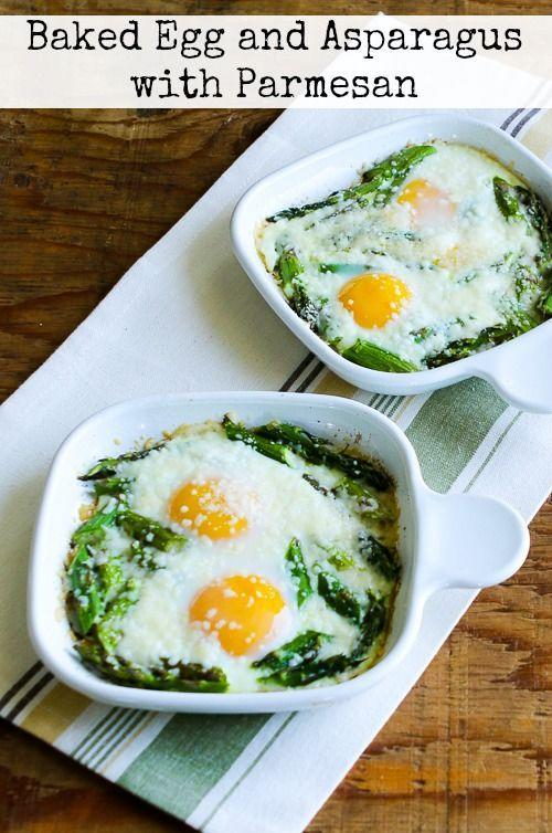 """<p>Make the most of fresh spring produce with this baked egg recipe.</p><p><strong>Get the recipe at <a href=""""http://www.kalynskitchen.com/2014/05/baked-eggs-and-asparagus-with-parmesan.html"""" rel=""""nofollow noopener"""" target=""""_blank"""" data-ylk=""""slk:Kalyn's Kitchen"""" class=""""link rapid-noclick-resp"""">Kalyn's Kitchen</a>.</strong></p>"""