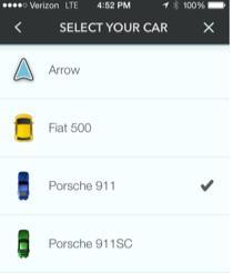 Waze Select Your Car screen