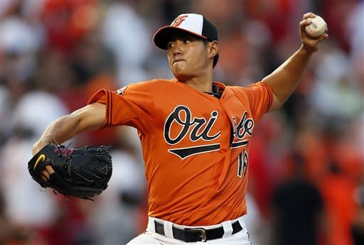 Baltimore Orioles starting pitcher Wei-Yin Chen, of Taiwan, throws to the Washington Nationals in the third inning of an interleague baseball game in Baltimore, Saturday, June 23, 2012. (AP Photo/Patrick Semansky)