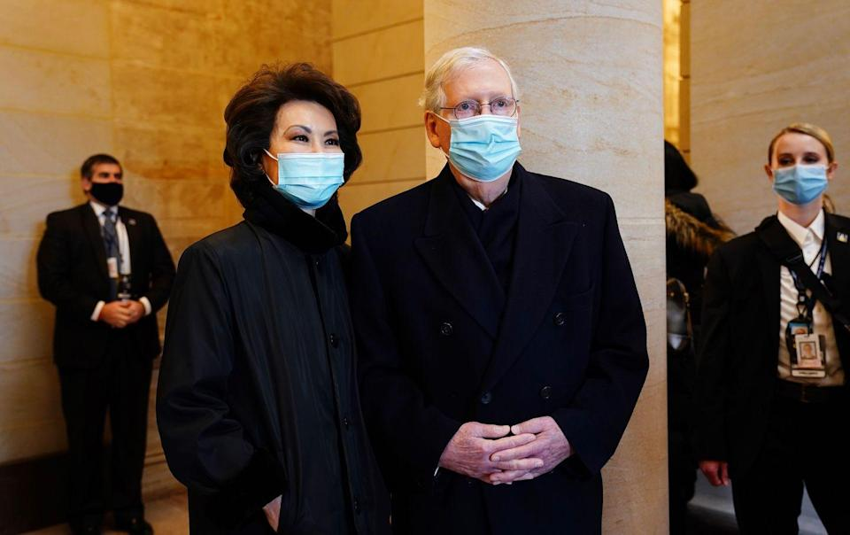 <p>Senate Majority Leader Mitch McConnell and former Secretary of Transportation Elaine Chao</p>