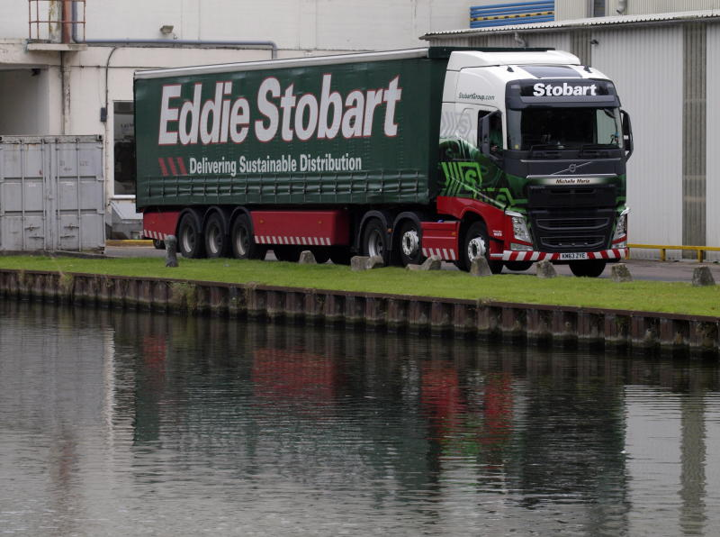 Eddie Stobart truck beside the Gloucester and Sharpness Canal, UK. (Photo By: Education Images/Universal Images Group via Getty Images)
