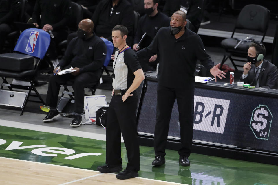 Philadelphia 76ers coach Doc Rivers argues with an official during the second half of the team's NBA basketball game against the Milwaukee Bucks on Thursday, April 22, 2021, in Milwaukee. (AP Photo/Aaron Gash)