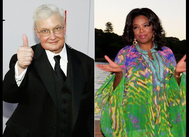 "Roger Ebert and Oprah went on two dates way back when the two were just starting out in Chicago -- and Ebert counts himself as her mentor. ""Yes, it is true, I persuaded Oprah to become the most successful and famous woman in the world,"" <a href=""http://rogerebert.suntimes.com/apps/pbcs.dll/article?AID=/20051116/COMMENTARY/511160301"" rel=""nofollow noopener"" target=""_blank"" data-ylk=""slk:Ebert wrote in 2005"" class=""link rapid-noclick-resp"">Ebert wrote in 2005</a>."