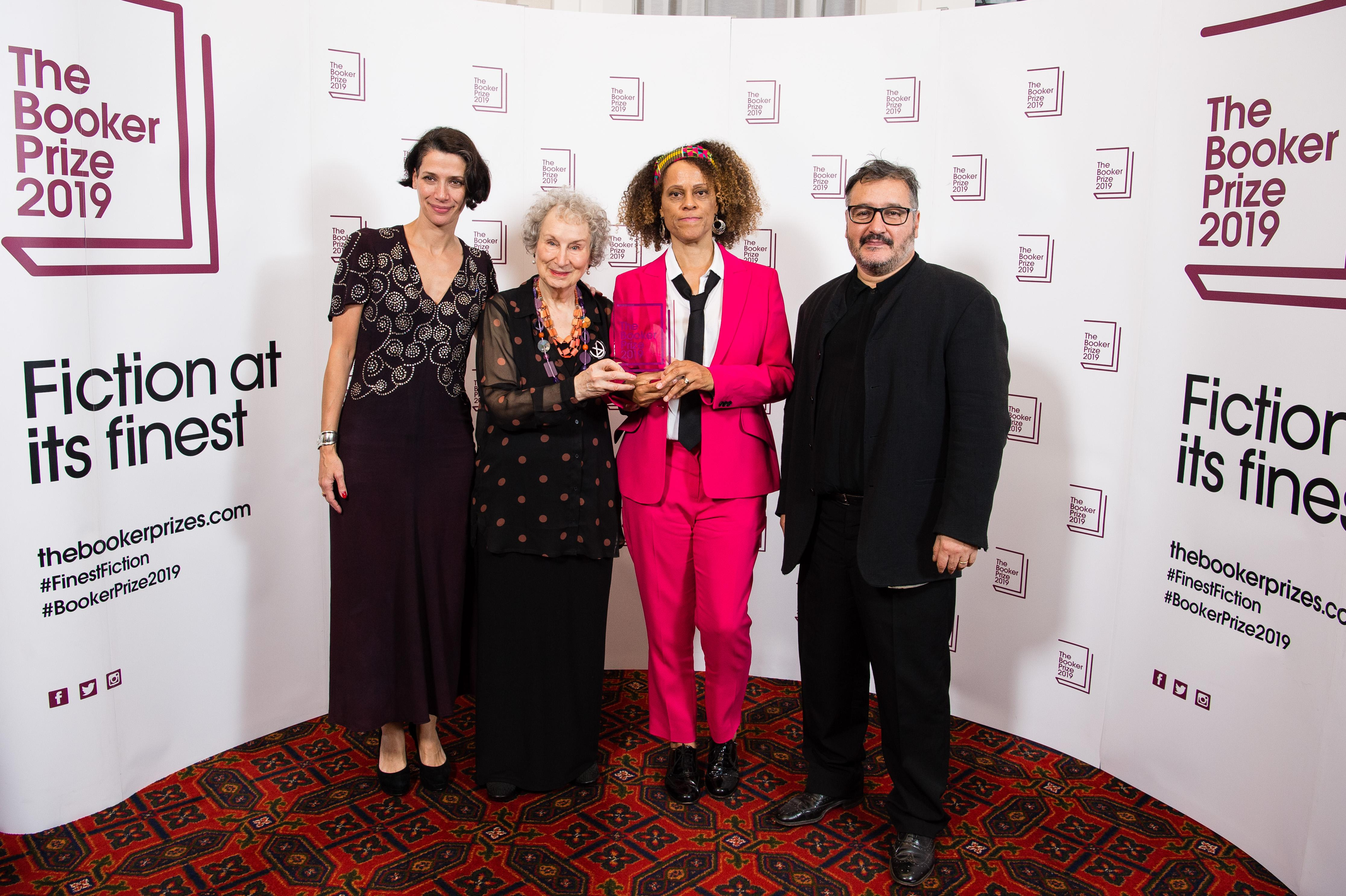 LONDON, ENGLAND - OCTOBER 14: (L-R) Gaby Wood (Literary Director Booker Prize), Margaret Atwood, Bernardine Evaristo and Peter Florence (Chair of Judges) during 2019 Booker Prize Winner Announcement photocall at Guildhall on October 14, 2019 in London, England. (Photo by Jeff Spicer/Getty Images)
