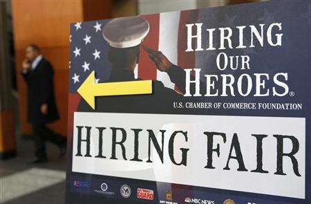 A sign points the way for military personnel, veterans and military spouses attending the Hiring Our Heroes job fair in Washington January 10, 2014. REUTERS/Kevin Lamarque
