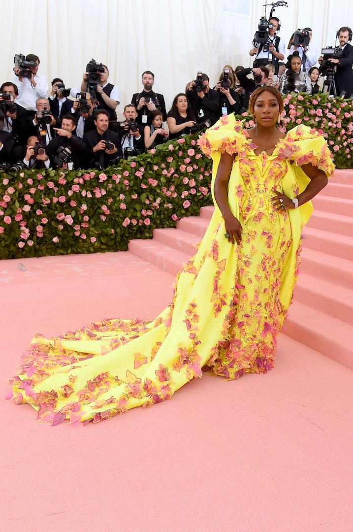 <p>Wearing a bespoke gown by Versace. <em>[Photo: Getty]</em> </p>