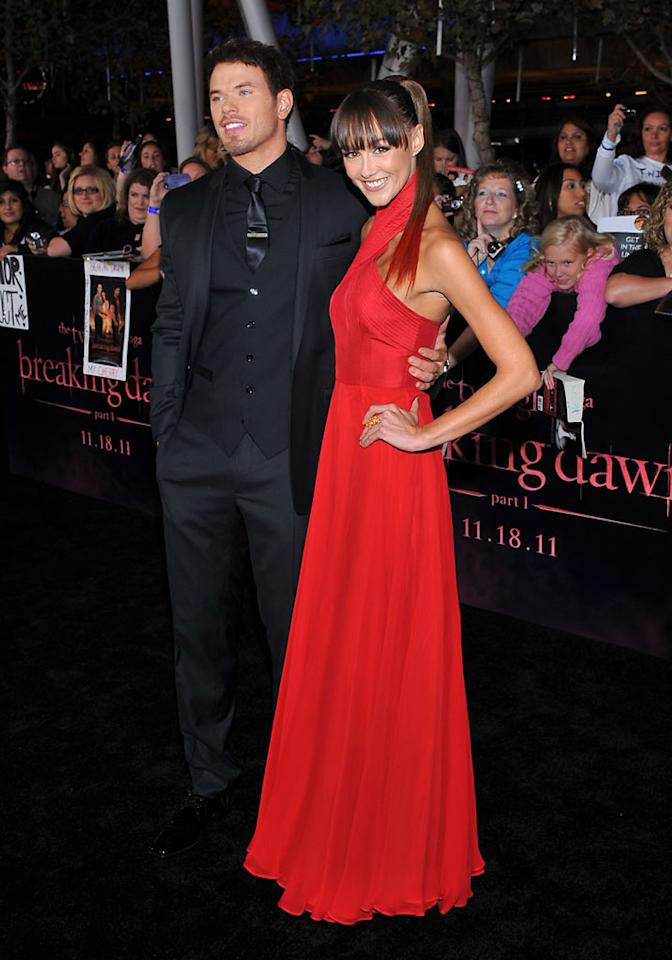 "Kellan Lutz and Sharni Vinson at the red carpet premiere for ""The Twilight Saga: Breaking Dawn – Part 1"" in Los Angeles, CA. (Photo by Vince Bucci/Yahoo!)"