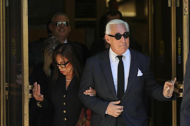 Roger Stone, former campaign adviser to Donald Trump, with his wife Nydia. (Photo: Siphiwe Sibeko/Reuters)