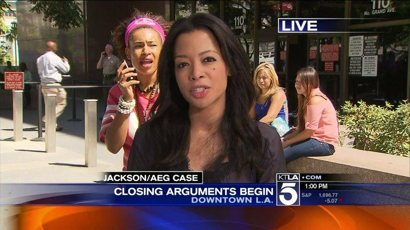 Screaming Woman Led Away From Courthouse During KTLA Live Report