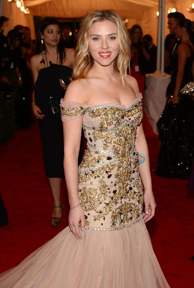 "NEW YORK, NY - MAY 07:  Scarlett Johansson attends the ""Schiaparelli And Prada: Impossible Conversations"" Costume Institute Gala at the Metropolitan Museum of Art on May 7, 2012 in New York City.  (Photo by Dimitrios Kambouris/Getty Images)"