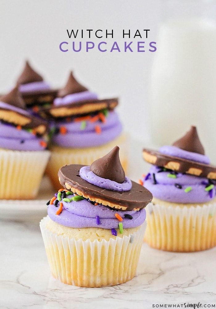 """<p>Cupcakes decorated with cookies and Hershey's Kisses to resemble <a href=""""https://www.countryliving.com/diy-crafts/g28304812/diy-witch-costume/"""" rel=""""nofollow noopener"""" target=""""_blank"""" data-ylk=""""slk:witch"""" class=""""link rapid-noclick-resp"""">witch</a> hats? Yes please!</p><p><strong>Get the recipe at <a href=""""https://www.somewhatsimple.com/witch-hat-cupcakes/"""" rel=""""nofollow noopener"""" target=""""_blank"""" data-ylk=""""slk:Somewhat Simple"""" class=""""link rapid-noclick-resp"""">Somewhat Simple</a>.</strong></p><p><strong><a class=""""link rapid-noclick-resp"""" href=""""https://www.amazon.com/Pillsbury-Frosting-Purple-vanilla-15-6/dp/B00D2Y1K50/?tag=syn-yahoo-20&ascsubtag=%5Bartid%7C10050.g.1366%5Bsrc%7Cyahoo-us"""" rel=""""nofollow noopener"""" target=""""_blank"""" data-ylk=""""slk:SHOP PURPLE FROSTING"""">SHOP PURPLE FROSTING</a><br></strong></p>"""