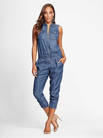 78182bc454a5 Gabrielle Union denim jumpsuit. New York   Company. More. Gabrielle Union  Collection ...