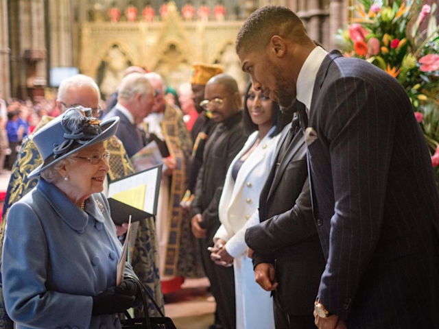 Anthony Joshua met Prince Charles (background) and The Queen on 9 March: Instagram/@anthonyjoshua