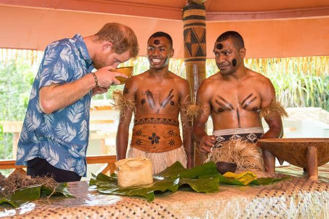 Duke of Sussex smells a bowl of kava in Fiji