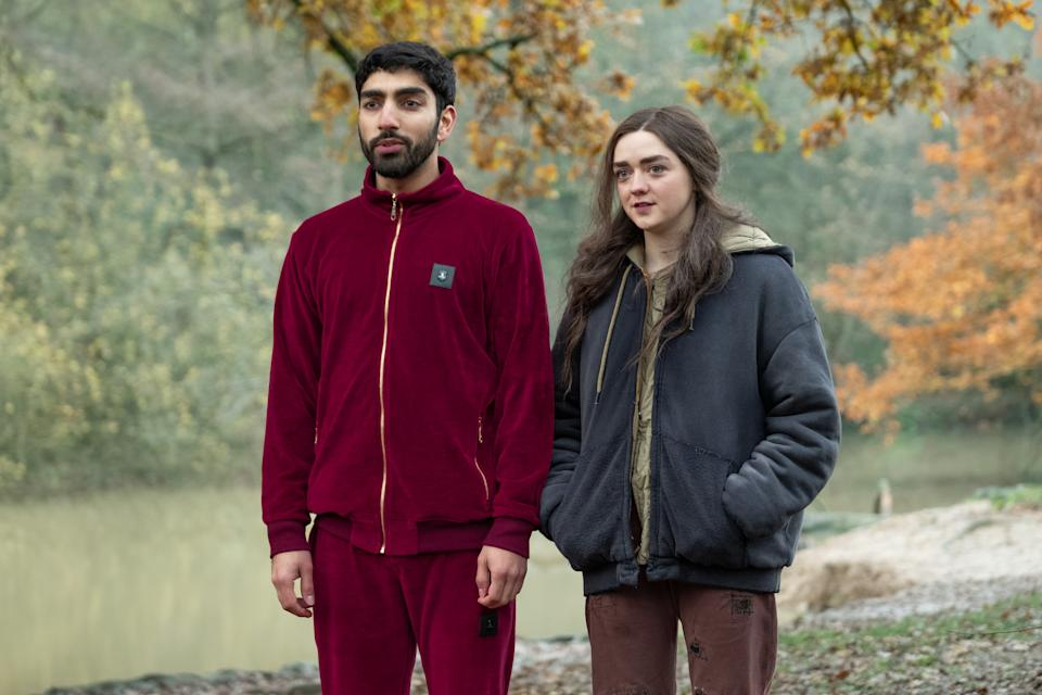 Maisie Williams and Mawaan Rizwan in Two Weeks To Live. (Sky/Nick Wall)