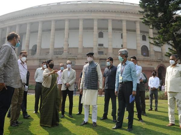 Lok Sabha Speaker Om Birla reviewed the construction work for new Parliament building on Saturday.