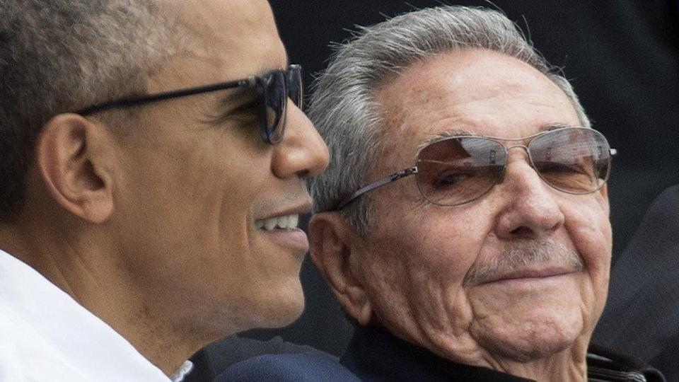 Raul Castro (left) with then-US President Barack Obama in 2016