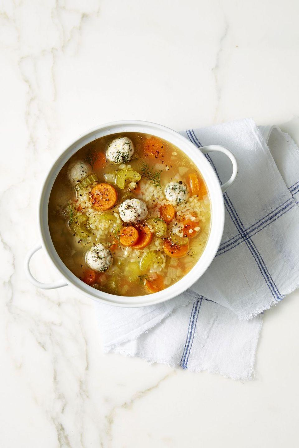 "<p>Cozy chicken noodle soup gets a makeover with bulgar wheat and herby chicken meatballs.</p><p><em><a href=""https://www.goodhousekeeping.com/food-recipes/healthy/a42187/lemon-dill-chicken-meatball-soup-recipe/"" rel=""nofollow noopener"" target=""_blank"" data-ylk=""slk:Get the recipe for Lemon-Dill Chicken Meatball Soup »"" class=""link rapid-noclick-resp"">Get the recipe for Lemon-Dill Chicken Meatball Soup »</a></em></p><p><strong>RELATED:</strong> <a href=""https://www.goodhousekeeping.com/food-recipes/easy/g27927452/fall-soups/"" rel=""nofollow noopener"" target=""_blank"" data-ylk=""slk:21 Tasty Fall Soups for Chilly Autumn Nights"" class=""link rapid-noclick-resp"">21 Tasty Fall Soups for Chilly Autumn Nights</a><br></p>"