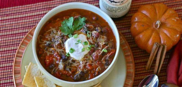 PHOTO: Jaymee Sire's vegetarian chili made with pureed pumpkin and pumpkin ale.  (Jaymee Sire)