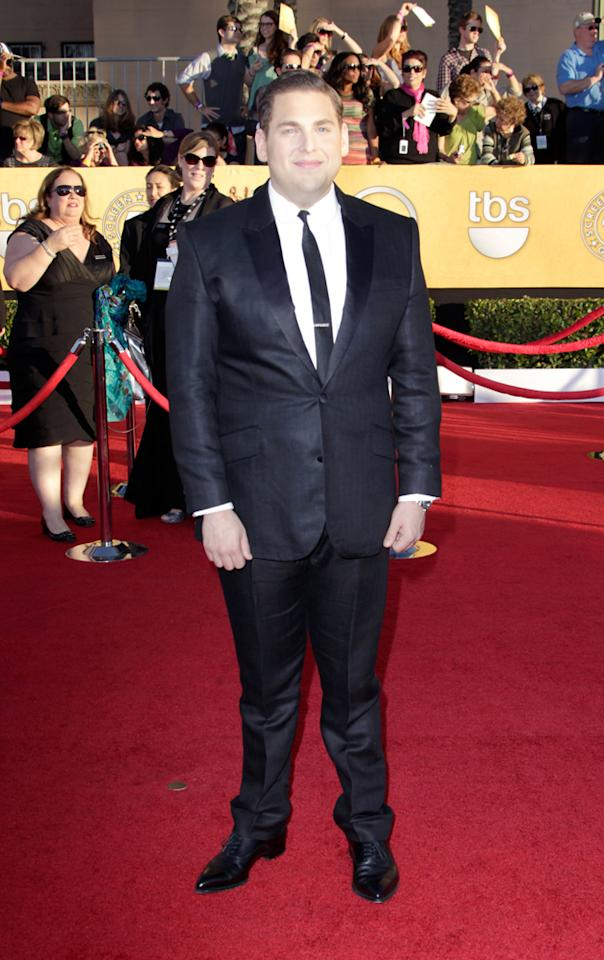 Jonah Hill arrives at the 18th Annual Screen Actors Guild Awards at The Shrine Auditorium in Los Angeles, California.