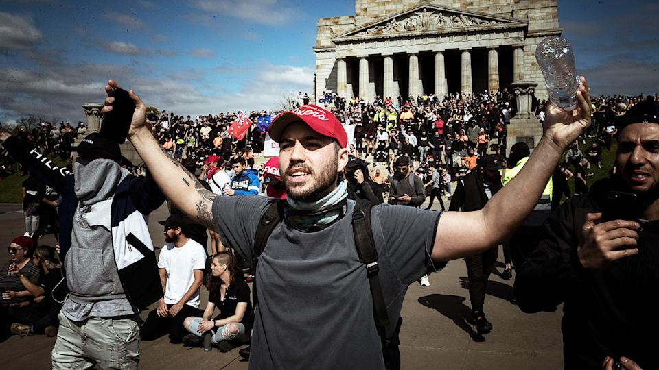 Protesters, pictured here at the Shrine of Remembrance in Melbourne.