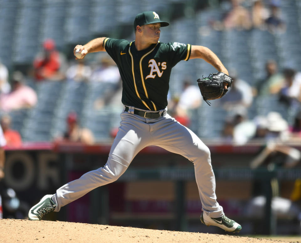 Oakland Athletics' Daulton Jefferies pitches during the fourth inning while playing the Los Angeles Angels in a baseball game Sunday, Aug. 1, 2021, in Anaheim, Calif. (AP Photo/John McCoy)