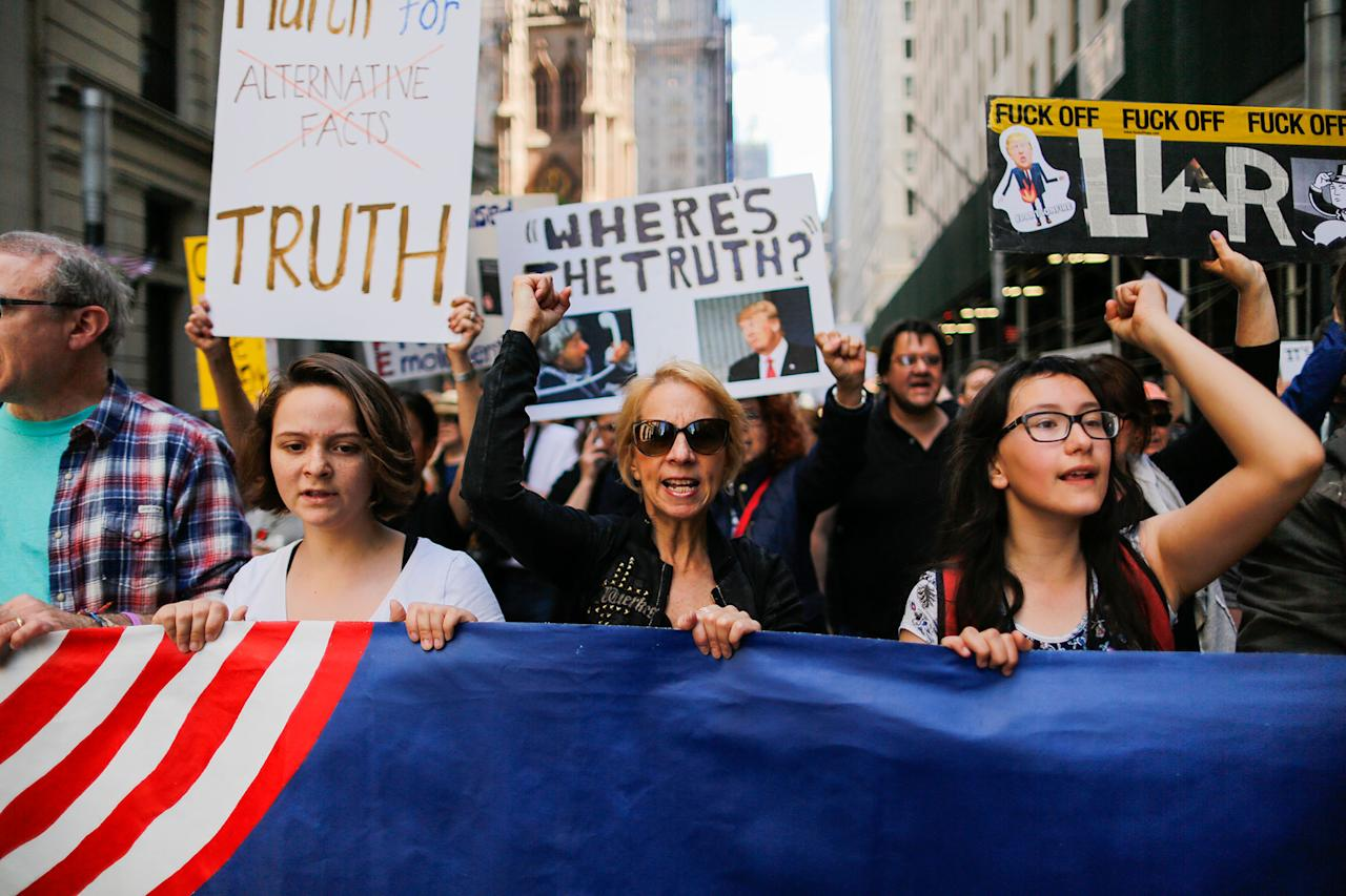 "<p>Demonstrators march as they take part in an anti-Trump ""March for Truth"" rally on June 3, 2017 in New York City. (Photo: Eduardo Munoz Alvarez/Getty Images) </p>"