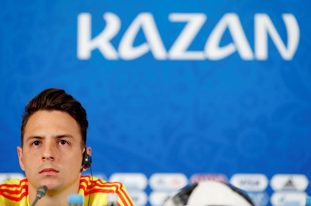 Soccer Football - World Cup - Colombia Press Conference - Kazan Arena, Kazan, Russia - June 23, 2018 Colombia's Santiago Arias during the press conference REUTERS/John Sibley