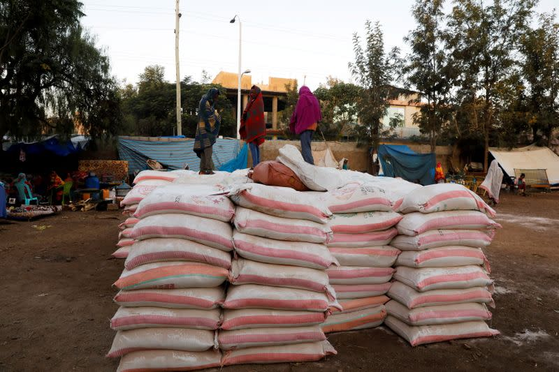 FILE PHOTO: Bags of food donations are seen at the Tsehaye primary school in Shire