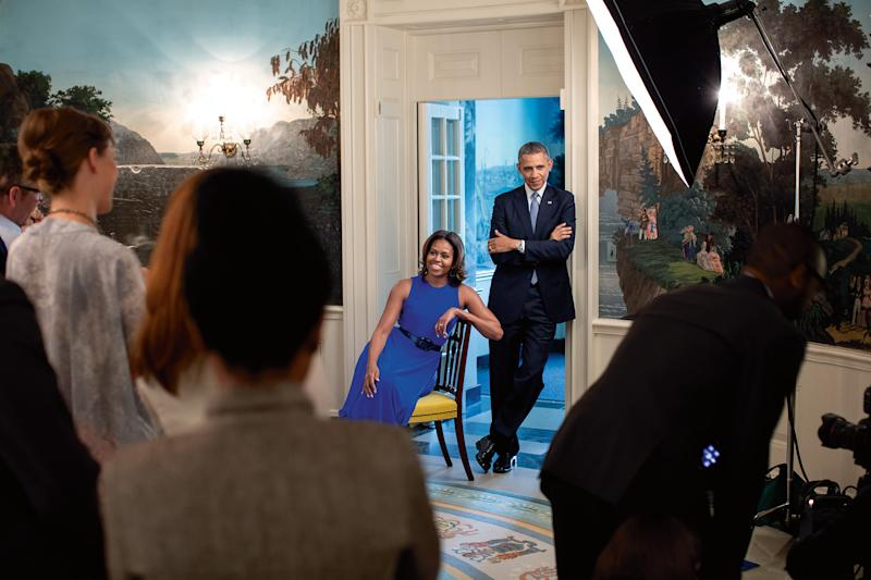 President Barack Obama and First Lady Michelle Obama participate in a photo shoot with Miller Mobley for Parade magazine in the Diplomatic Reception Room of the White House, May 20, 2014. [Photo: Official White House Photo by Lawrence Jackson]