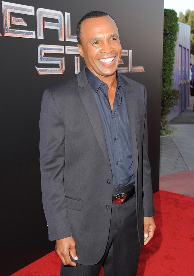 "<a href=""http://movies.yahoo.com/movie/contributor/1800020014"">Sugar Ray Leonard</a> at the Los Angeles premiere of <a href=""http://movies.yahoo.com/movie/1810130487/info"">Real Steel</a> on October 2, 2011."