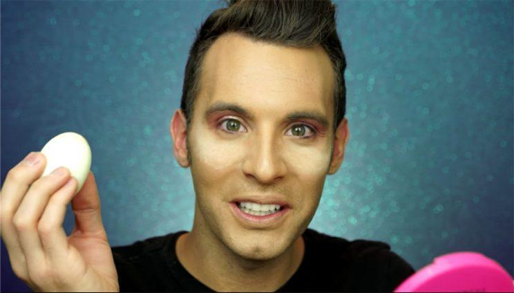 Beauty vlogger Nadi of PopLuxe used hard-boiled eggs as part of his makeup routine. (Photo: popluxe via YouTube)