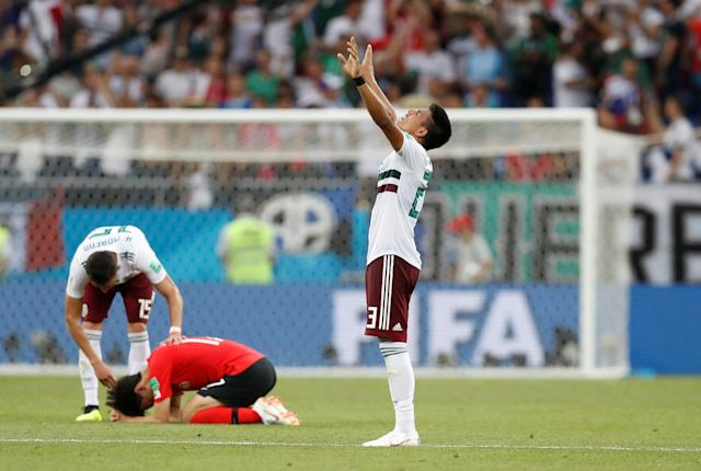 Soccer Football - World Cup - Group F - South Korea vs Mexico - Rostov Arena, Rostov-on-Don, Russia - June 23, 2018 Mexico's Jesus Gallardo celebrates at the end of the match REUTERS/Damir Sagolj TPX IMAGES OF THE DAY
