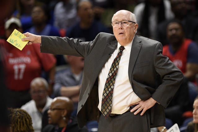 Washington Mytics coach Mike Thibault gestures during the second half of Game 2 of the team's WNBA playoff basketball series against the Las Vegas Aces, Thursday, Sept. 19, 2019, in Washington. The Mystics won 103-91. (AP Photo/Nick Wass)