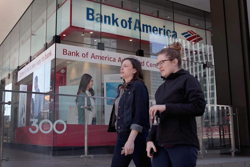 CHICAGO, ILLINOIS - APRIL 09: A sign hangs above the entrance to a Bank of America branch in the Loop on April 09, 2019 in Chicago, Illinois. The banking giant has announced that it will be raising the minimum wage for for its employees to $20-per-hour in increments over the next two years, beginning with a jump to $17-per-hour on May 1. (Photo by Scott Olson/Getty Images)