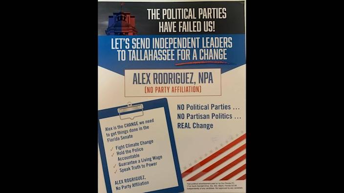 """Voters in Senate District 37 received dark money-funded mailers that featured little-known, no-party candidate Alex Rodriguez. The mailers aimed to """"confuse"""" voters."""