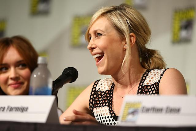 "Vera Farmiga attends the ""Bates Motel"" panel at Comic-Con International 2013 - Day 3 on July 20, 2013 in San Diego, California."