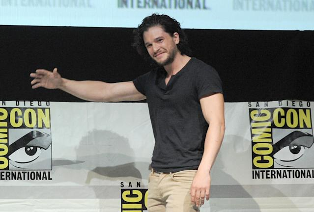 "Kit Harrington speaks onstage during the ""Game of Thrones"" panel at Comic-Con International 2013 at San Diego Convention Center on July 19, 2013 in San Diego, California."