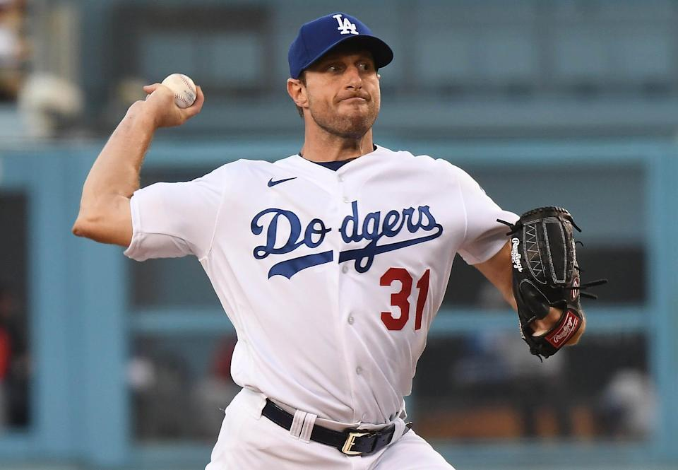 Max Scherzer struck out 10 batters and allowed two runs in seven innings pitched in his Dodgers debut.