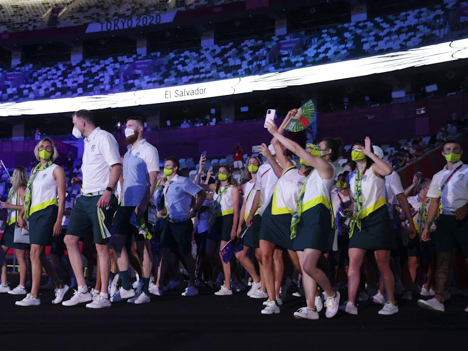 Athletes from Australia make their entrance at the Summer Olympics.