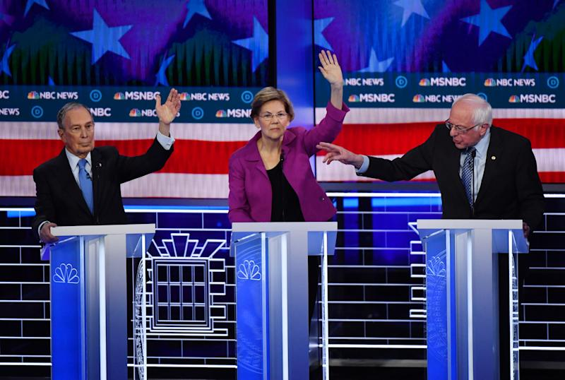 Democratic presidential hopefuls Former New York Mayor Mike Bloomberg (L), Massachusetts Senator Elizabeth Warren (C) and Vermont Senator Bernie Sanders (R) participate in the ninth Democratic primary debate of the 2020 presidential campaign season co-hosted by NBC News, MSNBC, Noticias Telemundo and The Nevada Independent at the Paris Theater in Las Vegas, Nevada, on February 19, 2020. (Photo by Mark RALSTON / AFP) (Photo by MARK RALSTON/AFP via Getty Images)