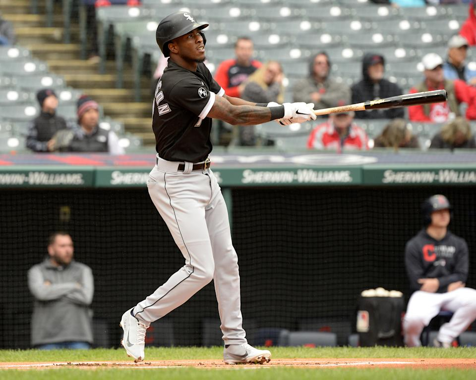 CLEVELAND - SEPTEMBER 23:  Tim Anderson #7 of the Chicago White Sox hits a solo home run in the first inning during the first game of a doubleheader against the Cleveland Indians on September 23, 2021 at Progressive Field in Cleveland, Ohio. (Photo by Ron Vesely/Getty Images)
