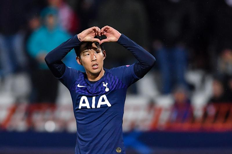 Tottenham Hotspur's South Korean striker Son Heung-Min celebrates after scoring his team's second goal during the UEFA Champions League Group B football match between Red Star Belgrade (Crvena Zvezda) and Tottenham Hotspur at the Rajko Mitic stadium in Belgrade, on November 6, 2019. (Photo by ANDREJ ISAKOVIC / AFP) (Photo by ANDREJ ISAKOVIC/AFP via Getty Images)