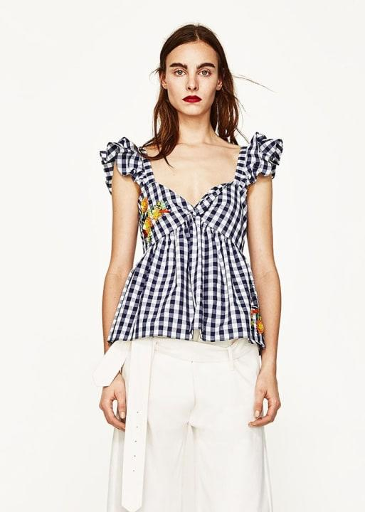 Gingham Embroidered Top, $49.90; at Zara