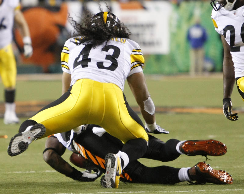 Pittsburgh Steelers safety Troy Polamalu (43) levels Cincinnati Bengals wide receiver Terrell Owens on a reception on the Bengals' last drive in their 27-21 loss to the Steelers in an NFL football game, Monday, Nov. 8, 2010, in Cincinnati. (AP Photo/Ed Reinke)