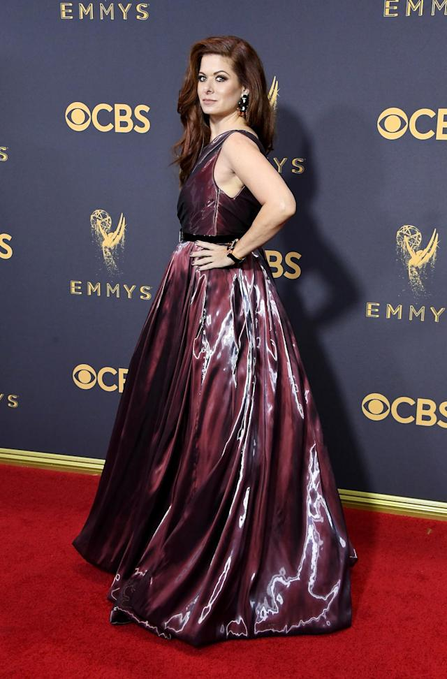 <p>Debra Messing attends the 69th Primetime Emmy Awards on Septe. 17, 2017.<br> (Photo: Getty Images) </p>