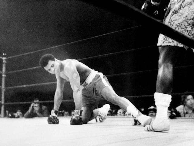 "In their ""Fight of the Century"" on March 8, 1971, Joe Frazier took a measure of revenge for Muhammad Ali's offensive trashtalk by flooring Ali in the 15th and going on to take a unanimous decision victory (AFP Photo/)"