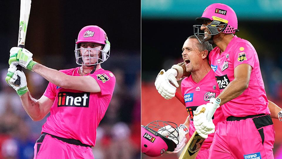 Seen here, Daniel Hughes smashes as shot as Sixers teammates celebrate their win in the BBL.